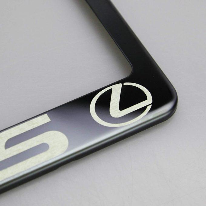 T304 Black Chrome License Plate Frame Stainless Steel Silver Tesla Laser Etched