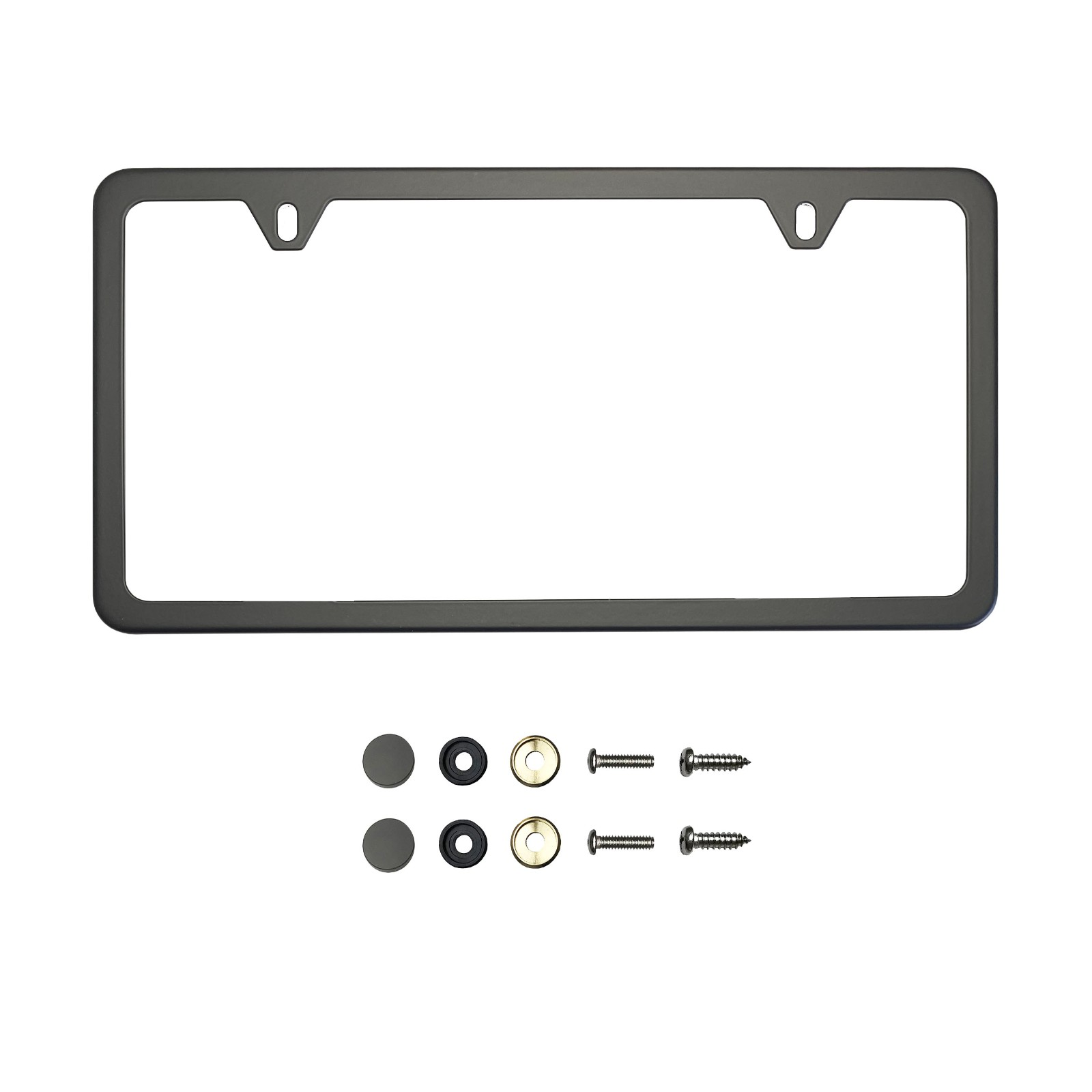 KA Depot Four Hole Slim Version Matte Flat Black License Plate Frame T304 Stainless Steel Metal Screw Caps